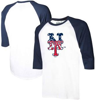 Stitches Men's White/Navy New York Mets Stars & Stripes Americana Raglan 3/4-Sleeve T-Shirt