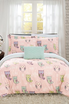 Full Mottled Reversible Cute Owls Theme Print Design Bed In a Bag Comforter 8-Piece Set - Pink