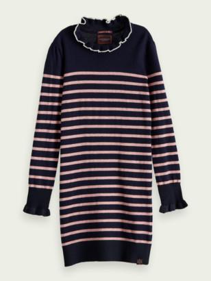 Scotch & Soda Ruffle neck knitted dress | Girls
