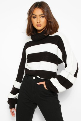 boohoo Turtleneck Striped Knitted Sweater