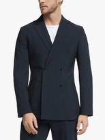 John Lewis & Partners Seersucker Stripe Double Breasted Suit Jacket, Navy