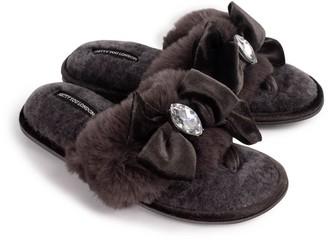Pretty You London Diana Luxury Jewel Toe Post Slippers In Smoke