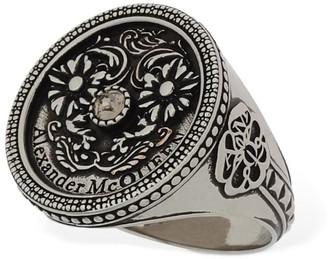 Alexander McQueen Medallion Ring W/Crystal Detail