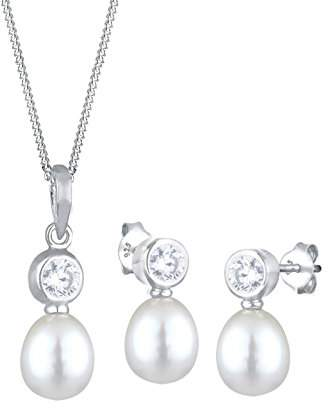 Perlu 0908970212_45 High Lustre White 8.0 mm Oval Freshwater Pearl 45.0 centimetres Sterling Silver 925 Jewellery Set
