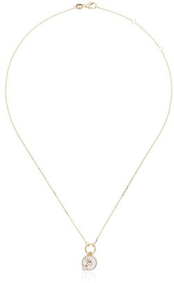 Foundrae White And Yellow Gold Disc Drop Diamond Necklace
