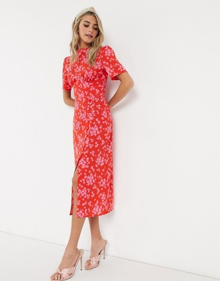 Asos DESIGN midi tea dress with buttons in red and pink floral print