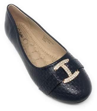 Victoria K Women's Textured Rhinestone Studded Gold Buckle Ballerina Flats