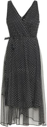 DKNY Wrap-effect Flocked Tulle Dress