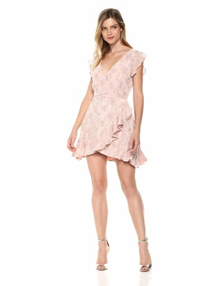 BB Dakota Women's RSVP Karlie Lace Ruffled Faux Wrap Dress