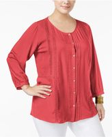 JM Collection Plus Size Embroidered Pintucked Shirt, Created for Macy's