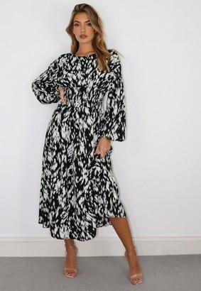 Missguided Black Dalmatian Shirred Waist Midi Dress