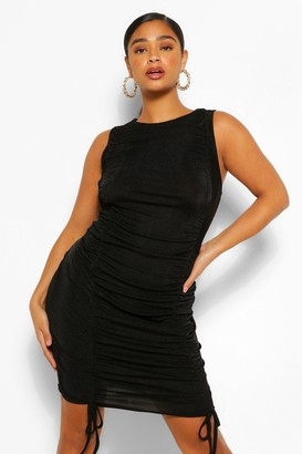boohoo Plus Texture Slinky Ruched Bodycon Dress