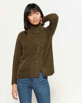 Poof Apparel Mock Neck Dual Cable-Knit Long Sleeve Sweater