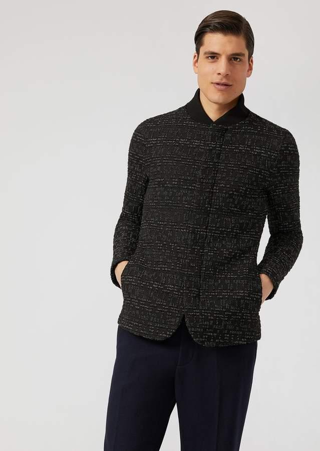 Emporio Armani Stretch Wool Jacket With Macro-Seersucker Pattern