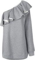 MSGM pleated trim one shoulder flared dress - women - Cotton/Viscose - S
