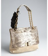 Lanvin brown suede and lizard embossed 'Happy' chain strap shoulder bag