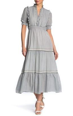 Max Studio V-Neck Smocked Tiered Maxi Dress