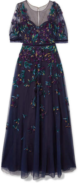 Marchesa Bead-embellished Embroidered Tulle Gown - Navy