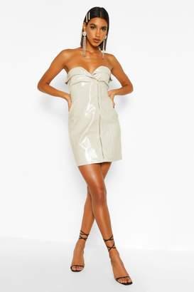 boohoo PU Belted Zip Mini Dress