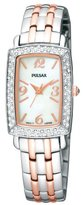 Pulsar Women's PTC507 Crystal Case Two-Tone Bracelet White Mother-of Pearl Dial Watch