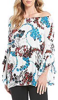Fever Ruffle Sleeve Printed Blouse