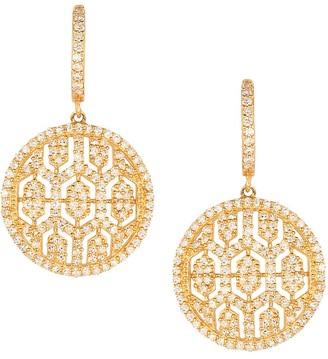 Effy 14K Yellow Gold Diamond Maze Drop Earrings