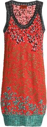 Missoni Metallic Embroidered Crochet-knit Mini Dress
