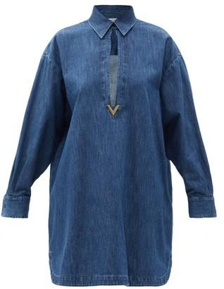Valentino V-logo Keyhole-cutout Denim Shirt Dress - Light Denim