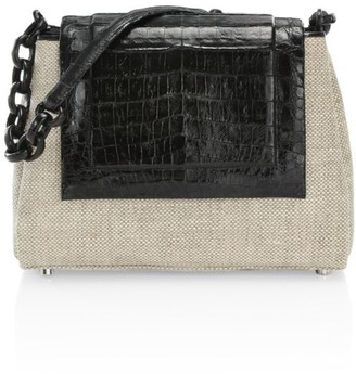 Nancy Gonzalez Medium Crocodile-Trimmed Linen Shoulder Bag
