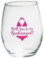 Kate Aspen Set of 4) Will You Be My Bridesmaid Beach Bikini 15 Oz. Stemless Wine Glass