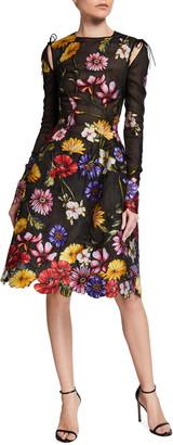 Floral Embroidered Scallop Midi Dress