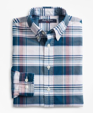 Brooks Brothers Boys Cotton Oxford Bold Plaid Sport Shirt