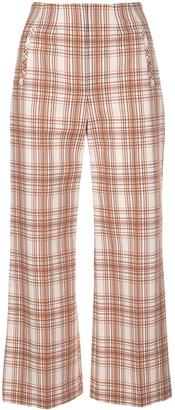 Veronica Beard Plaid Print Cropped Trousers