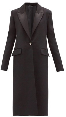 Marina Moscone Crystal-button Grain-de-poudre Coat - Black