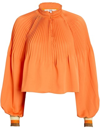 Tibi Pleated Edwardian Crop Top