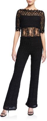 Nightcap Clothing Florence Elbow-Sleeve Lace Jumpsuit