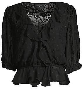The Kooples Women's Sheer Embroidery Peplum Blouse