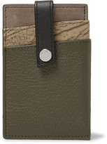WANT Les Essentiels Kennedy Leather And Nubuck Cardholder - Army green
