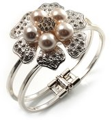 Avalaya Bridal Imitation Pearl Floral Hinged Bangle Bracelet (Silver Tone)