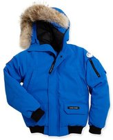 Canada Goose Kids' PBI Chilliwack Hooded Fur-Trim Parka, Royal Blue, Size XS-XL