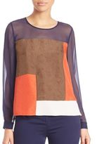 Diane von Furstenberg Raegan Silk Colorblock Top