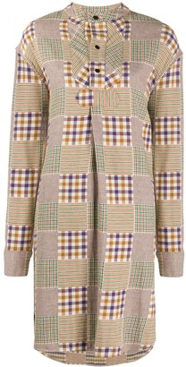 YMC Check Pattern Shirt Dress
