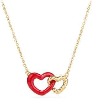 David Yurman Double Heart Pendant Necklace With 18K Gold& Red Enamel