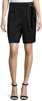 Edun Pleated-Front Belted Bermuda Shorts, Black