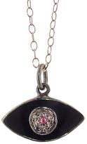 Ileana Makri IaM by Black Enamel Evil Eye Pendant Necklace with Diamonds