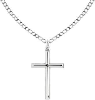 Ritastephens Sterling Silver Shiny Italian Cross Pendant Necklace (35mm 43mm)