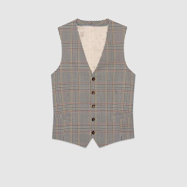 Gucci Retro check wool formal vest