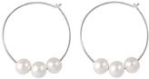 Bella Pearl White Pearl & Sterling Silver Hoop Earrings