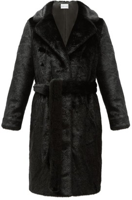 Stand Studio Juliet Waist-tie Faux-fur Coat - Black