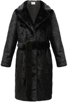 Stand Studio - Juliet Waist-tie Faux-fur Coat - Womens - Black